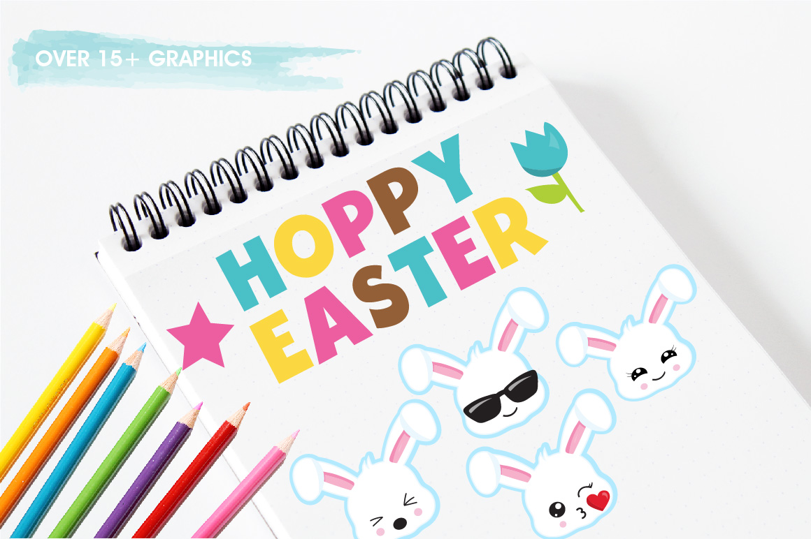 Easter Kawaii Bunnies graphics and illustrations example image 3