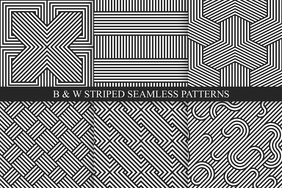 Abstract seamless striped patterns example image 6