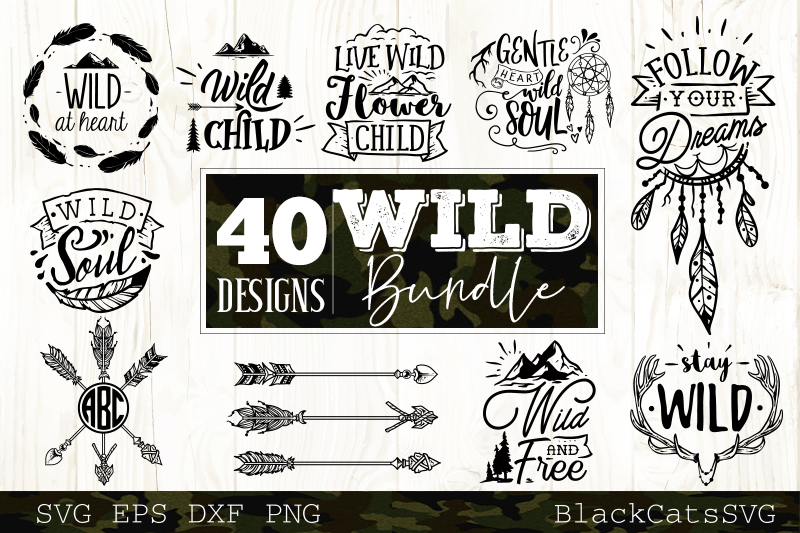 Wild and Boho SVG bundle 40 designs Wild SVG bundle example image 3