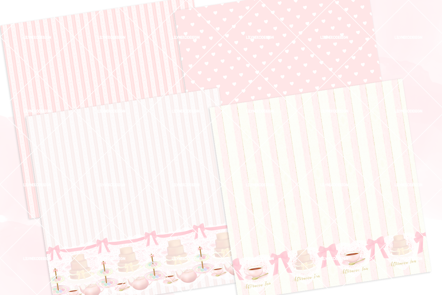 Macaron Afternoon Tea party Pattern Digital Papers example image 2