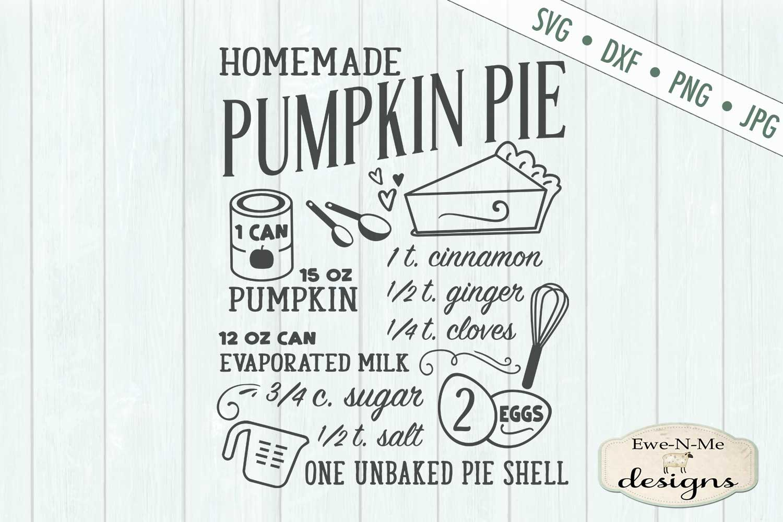 Pumpkin Pie Recipe - Fall - SVG DXF Files example image 3
