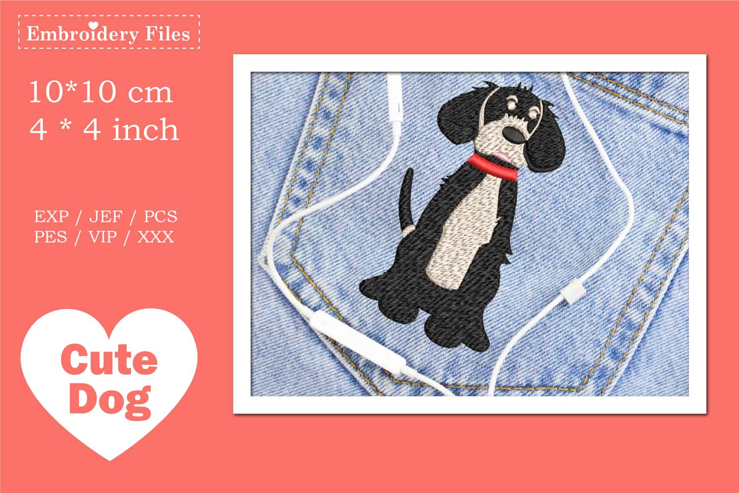 Cute big Dog - Embroidery File example image 1