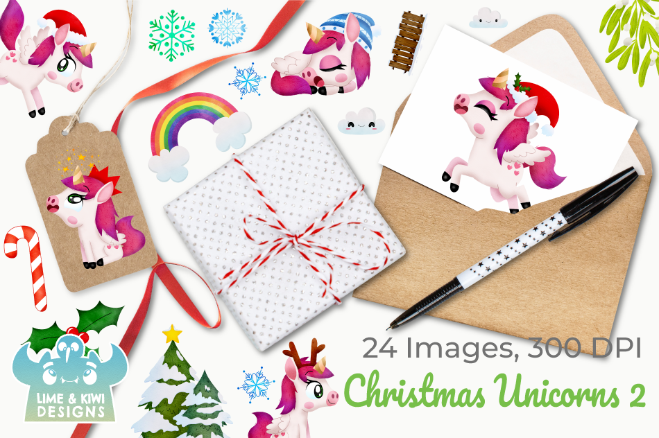 Christmas Unicorns 2 Watercolor Clipart, Instant Download example image 4