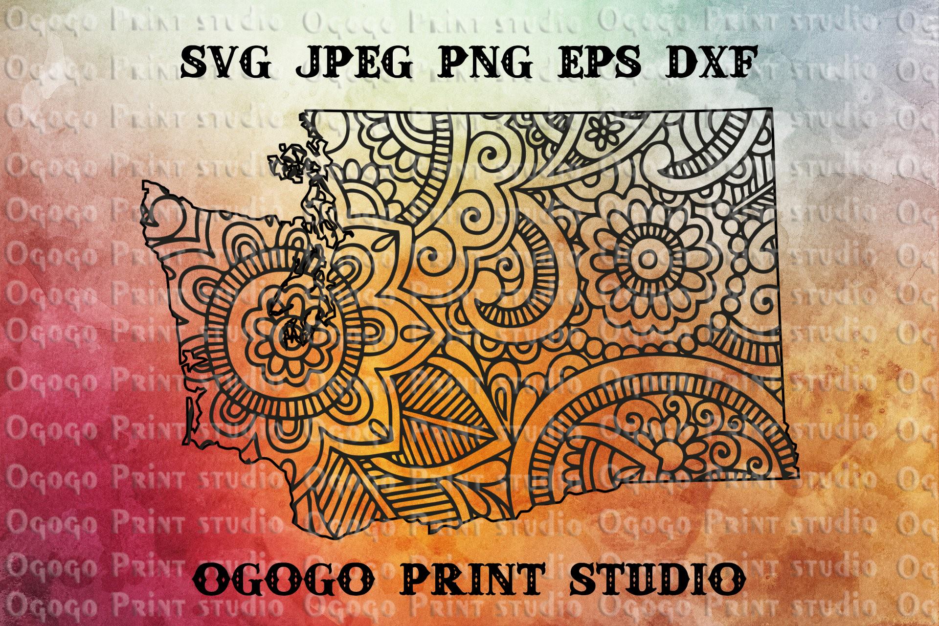 Washington Map SVG, Zentangle SVG, Travel svg, Mandala svg example image 1