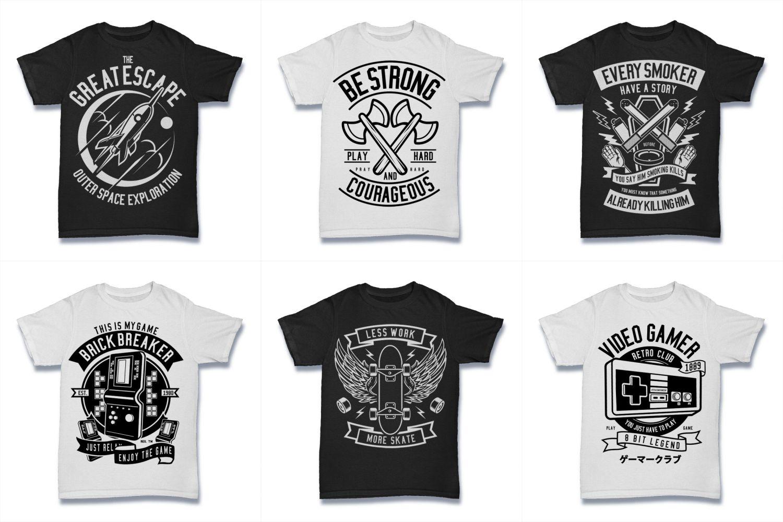100  Vector Tshirt Designs ( B/W Concept ) example image 9