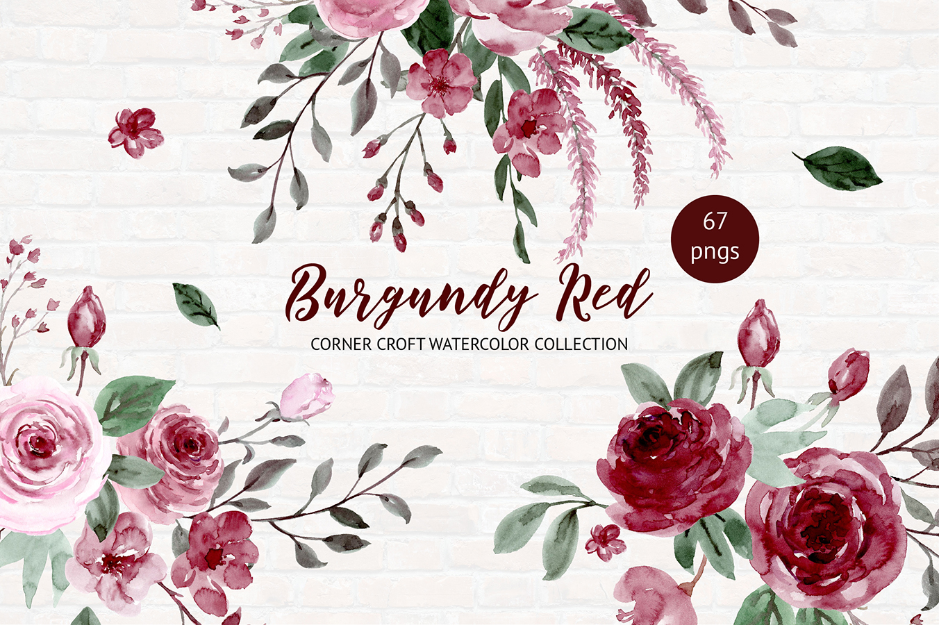 Watercolor Collection Burgundy Red example image 1