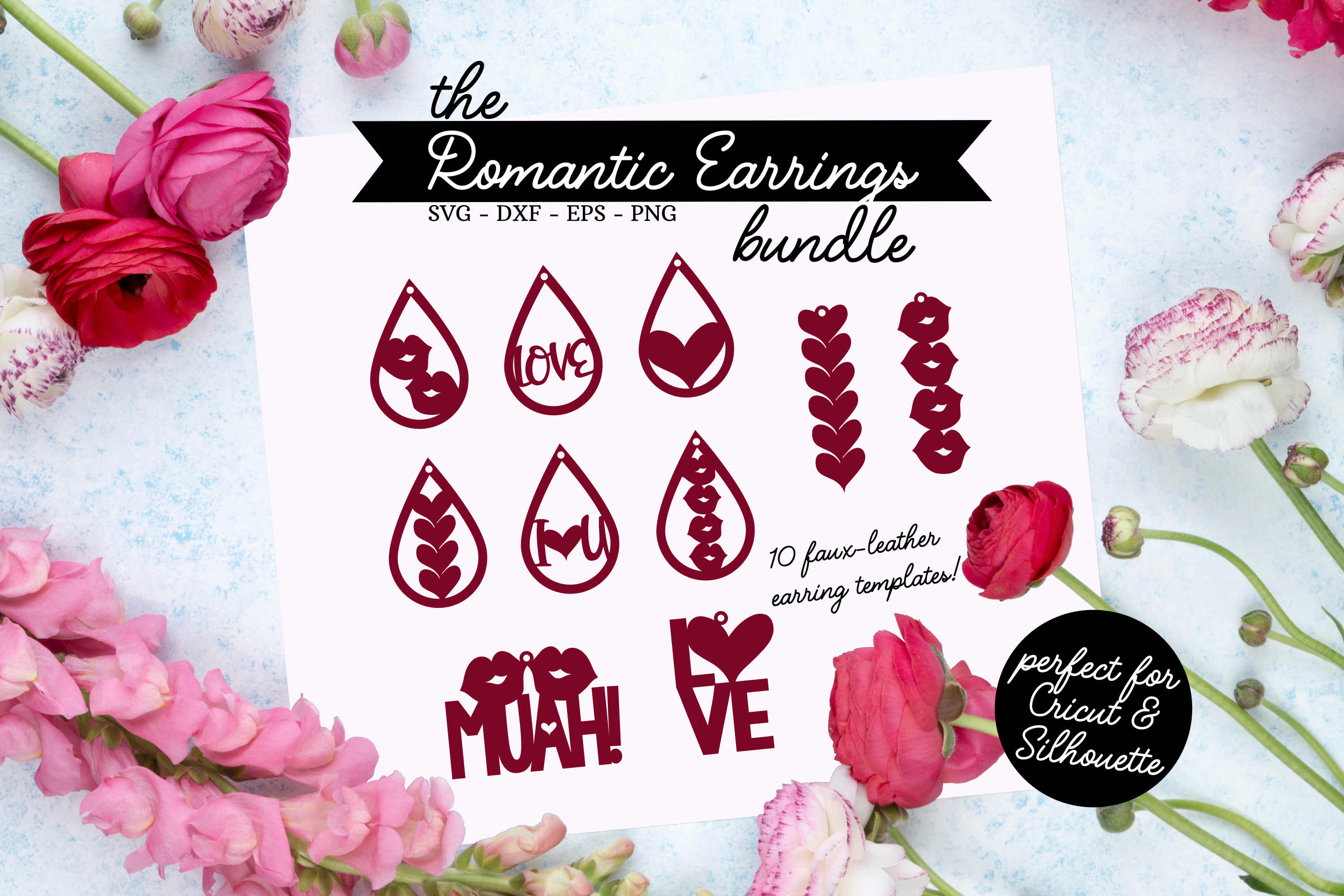 The Romantic Earrings SVG Bundle - Valentines Day SVG example image 1