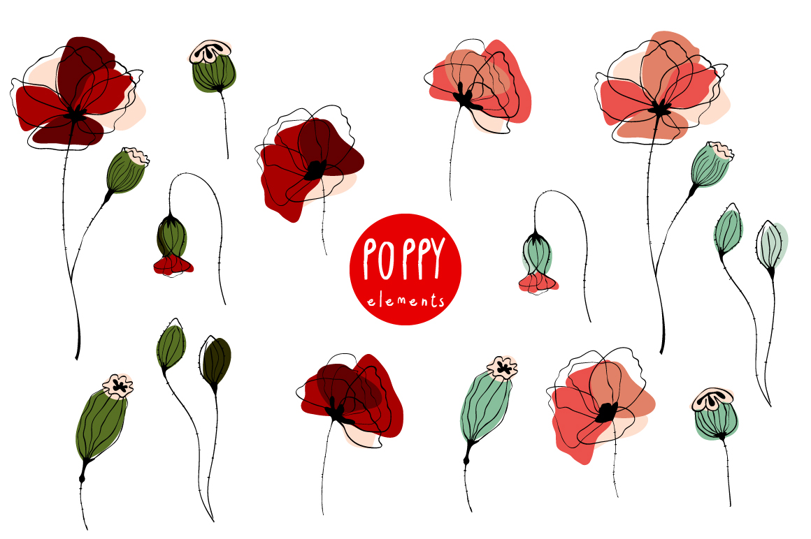 Poppy. Elements & Pattern Swatches example image 3