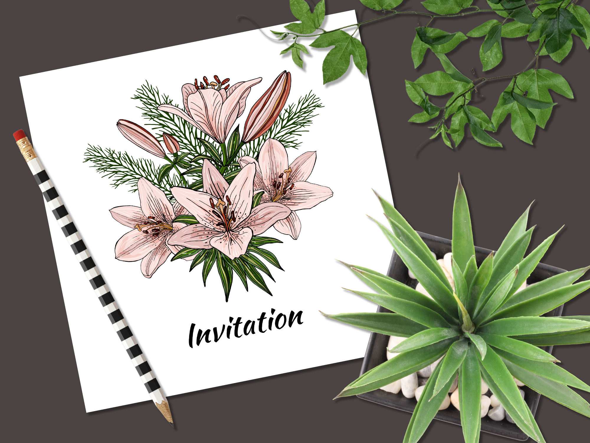 Design with lily flowers. Seamless patterns and postcards. example image 5