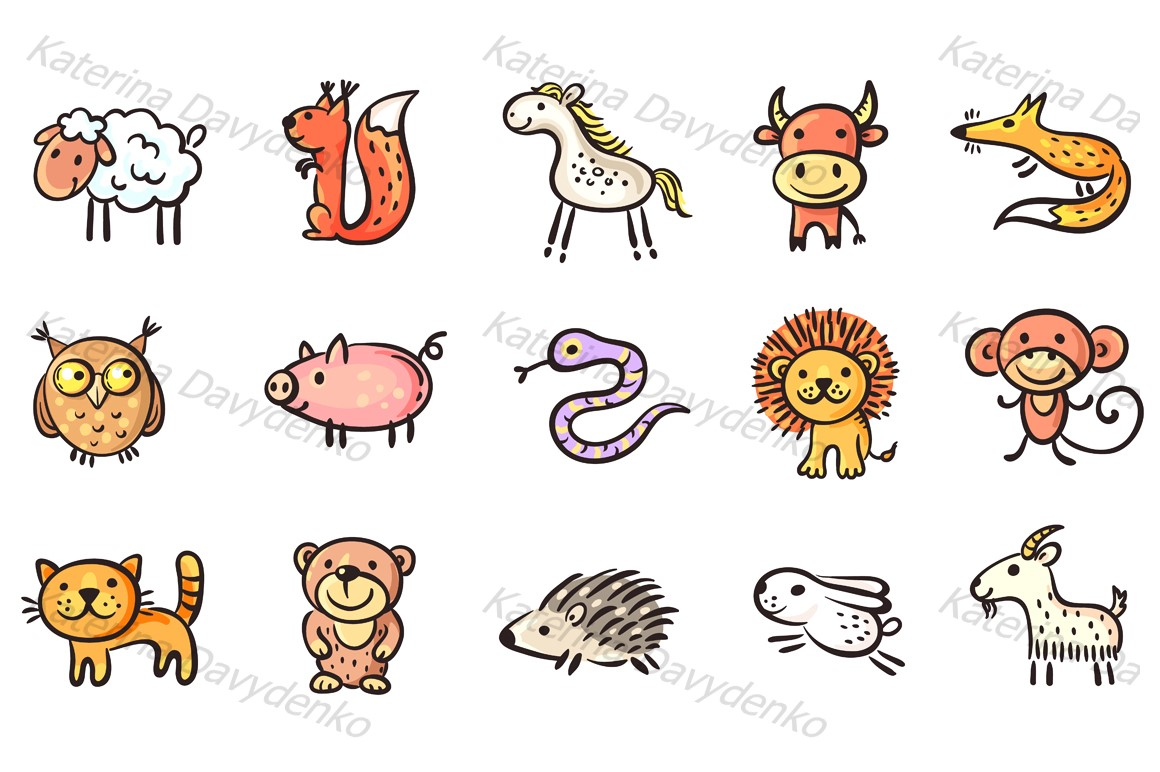 Set of small sketchy animals example image 1