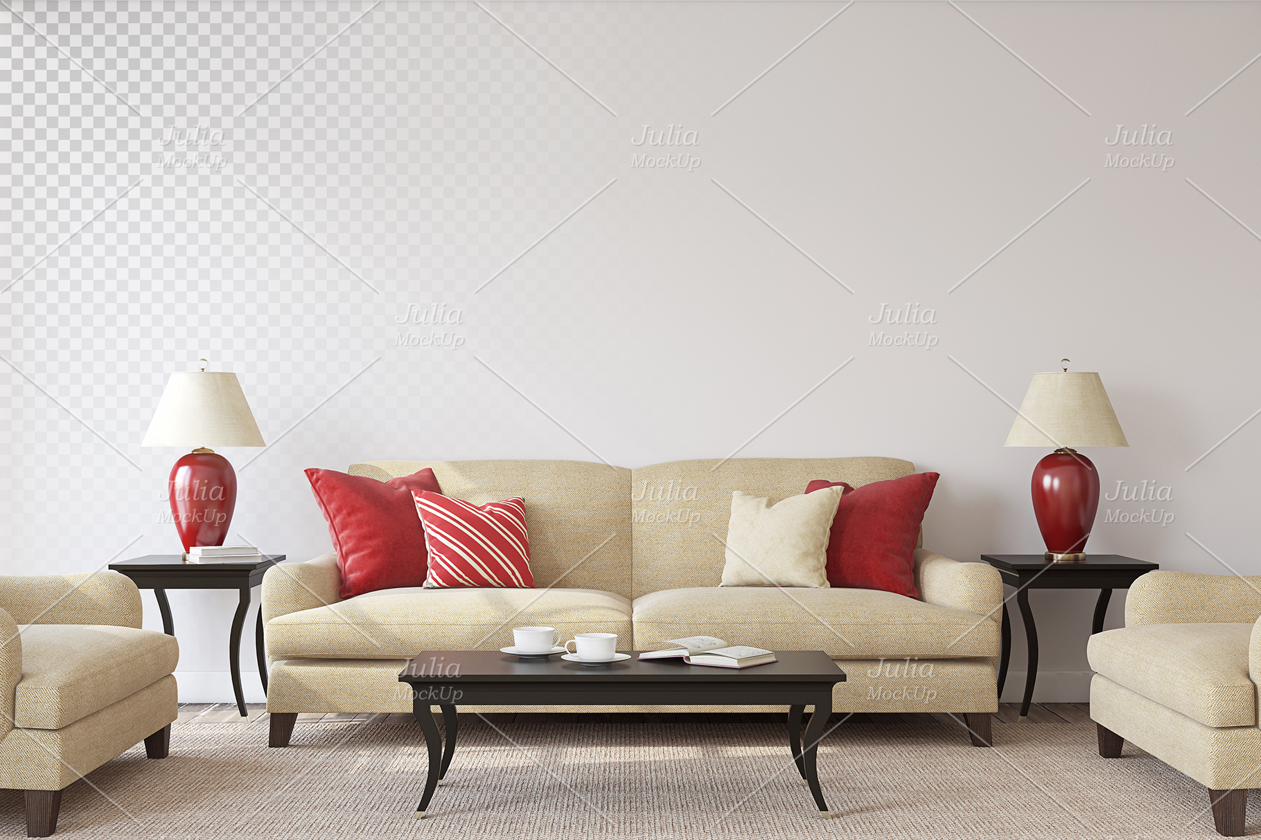 Living-room interiors. Wall&Frames Mockup. example image 8
