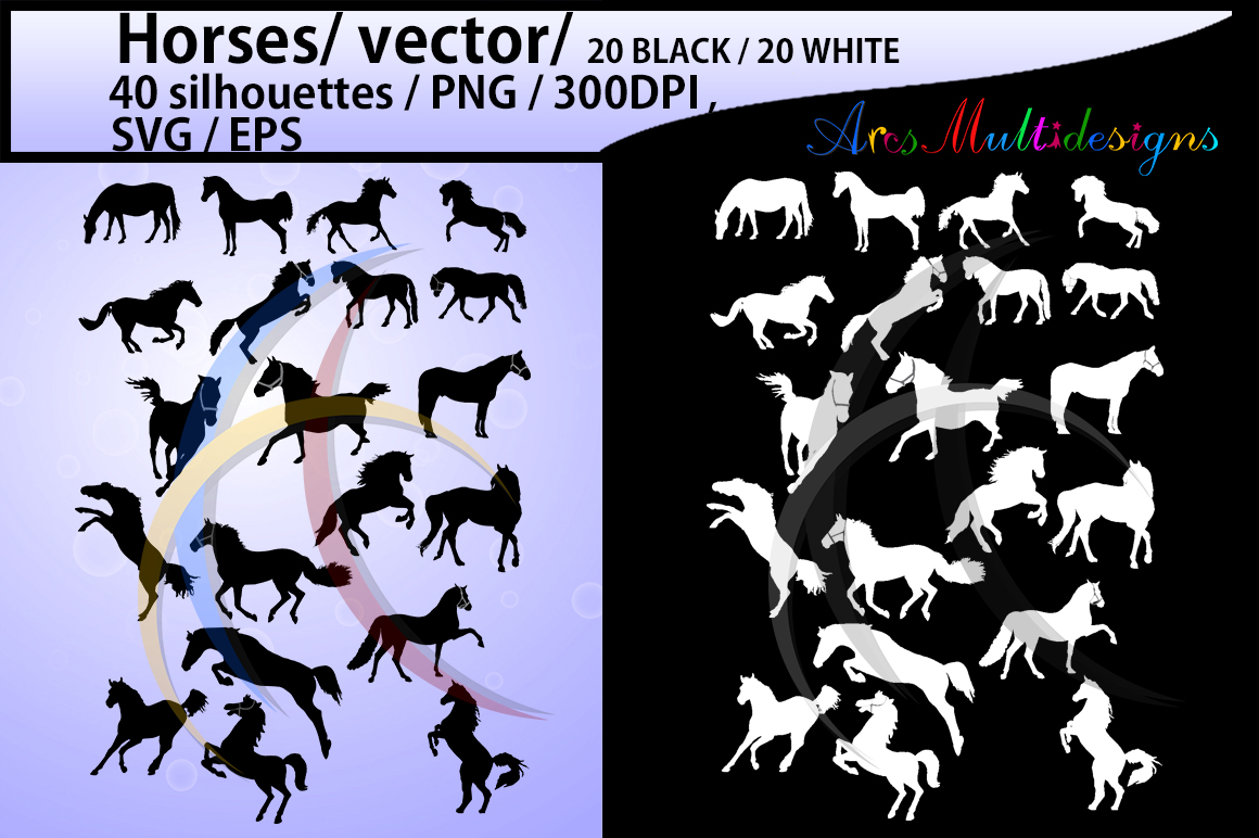 horse silhouette svg / 40 Horse / mare horse / black and white horse silhouette / digital files / EPS / SVG / Png / printable / cricut example image 1