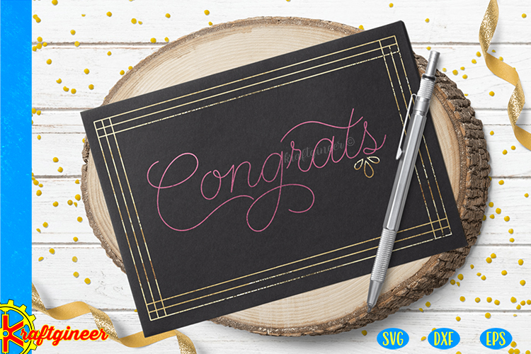Single Line Congrats Card SVG | Single Line SVG |Foil Quill example image 3