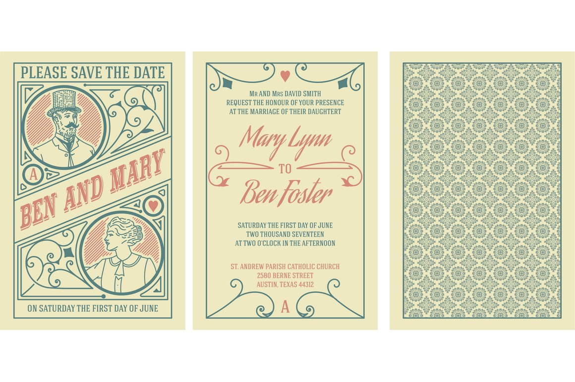 Wedding invitation with 3 artboards example image 2
