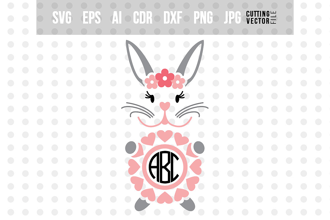 Rabbit Monogram SVG - Cut File for Crafters example image 1