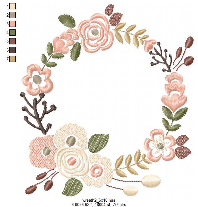 Floral Wreath Font Frame Monogram Design - EMBROIDERY DESIGN FILE - Instant download - Vp3 Hus Dst Exp Jef Pes formats 5 sizes 3,4,5,6,7inch example image 9