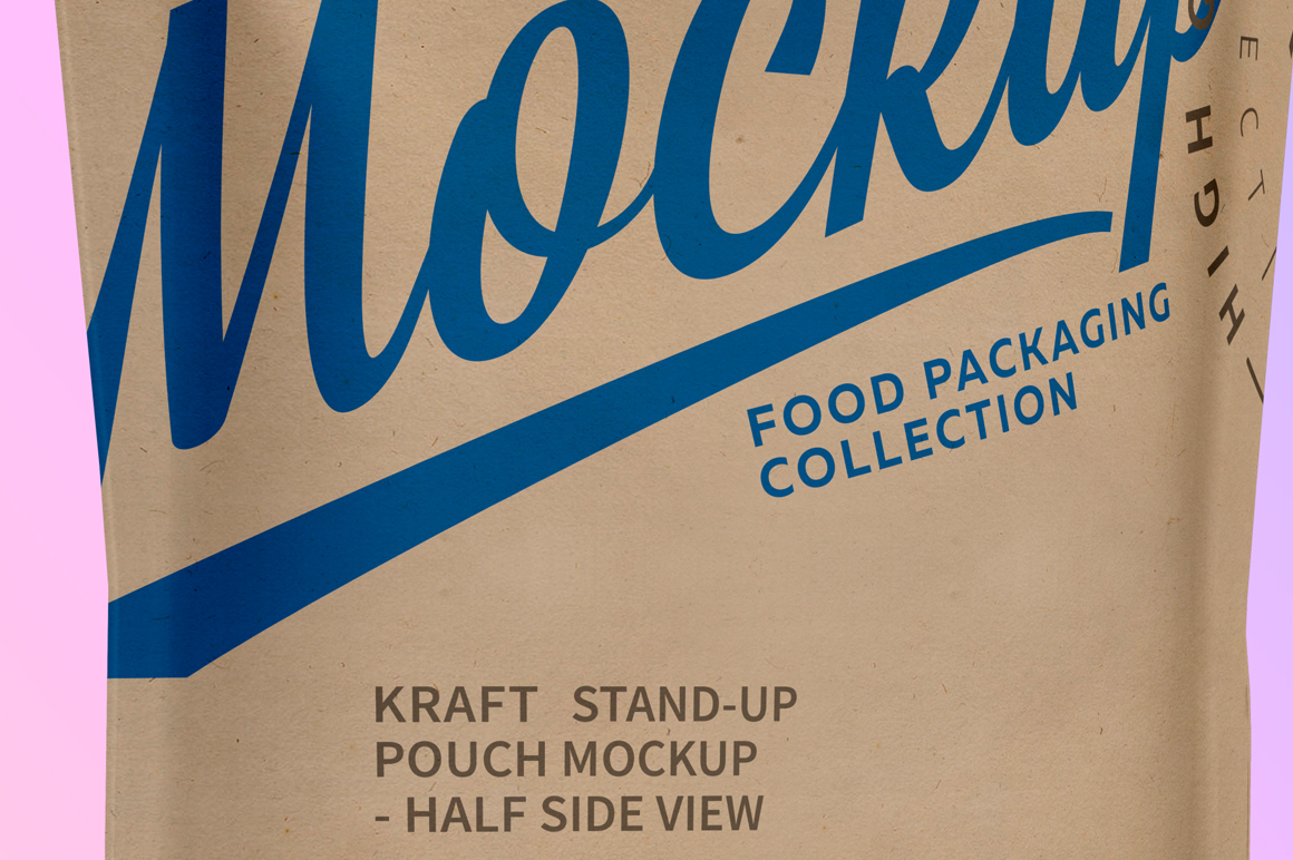 Kraft Stand-Up Pouch Mockup - Half Side View example image 5