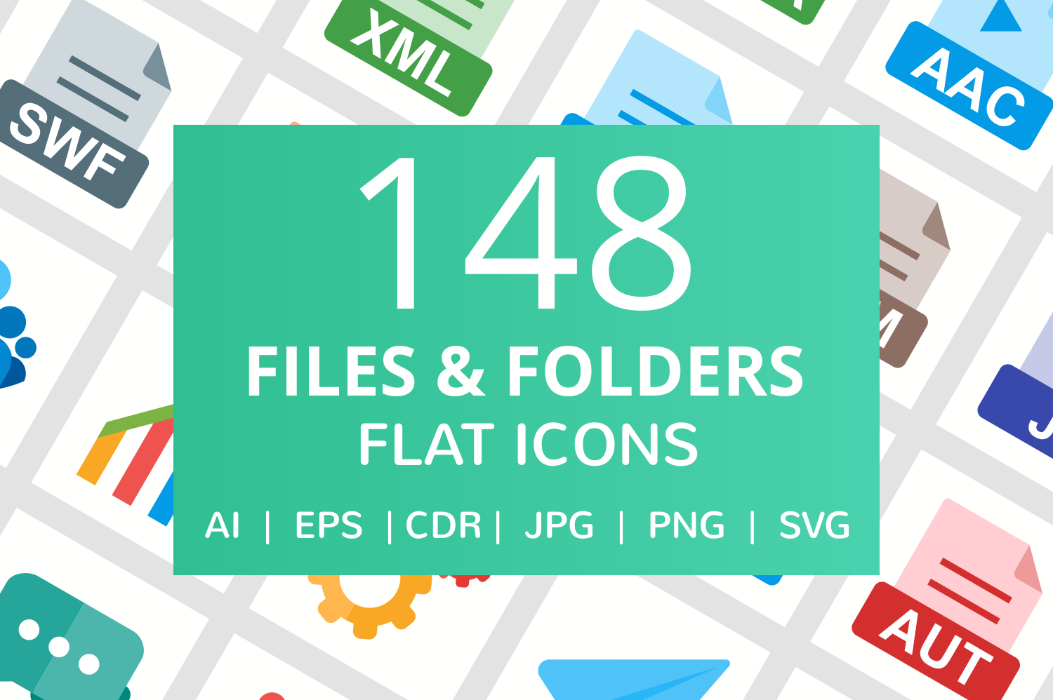 148 Files & Folders Flat Icons example image 1
