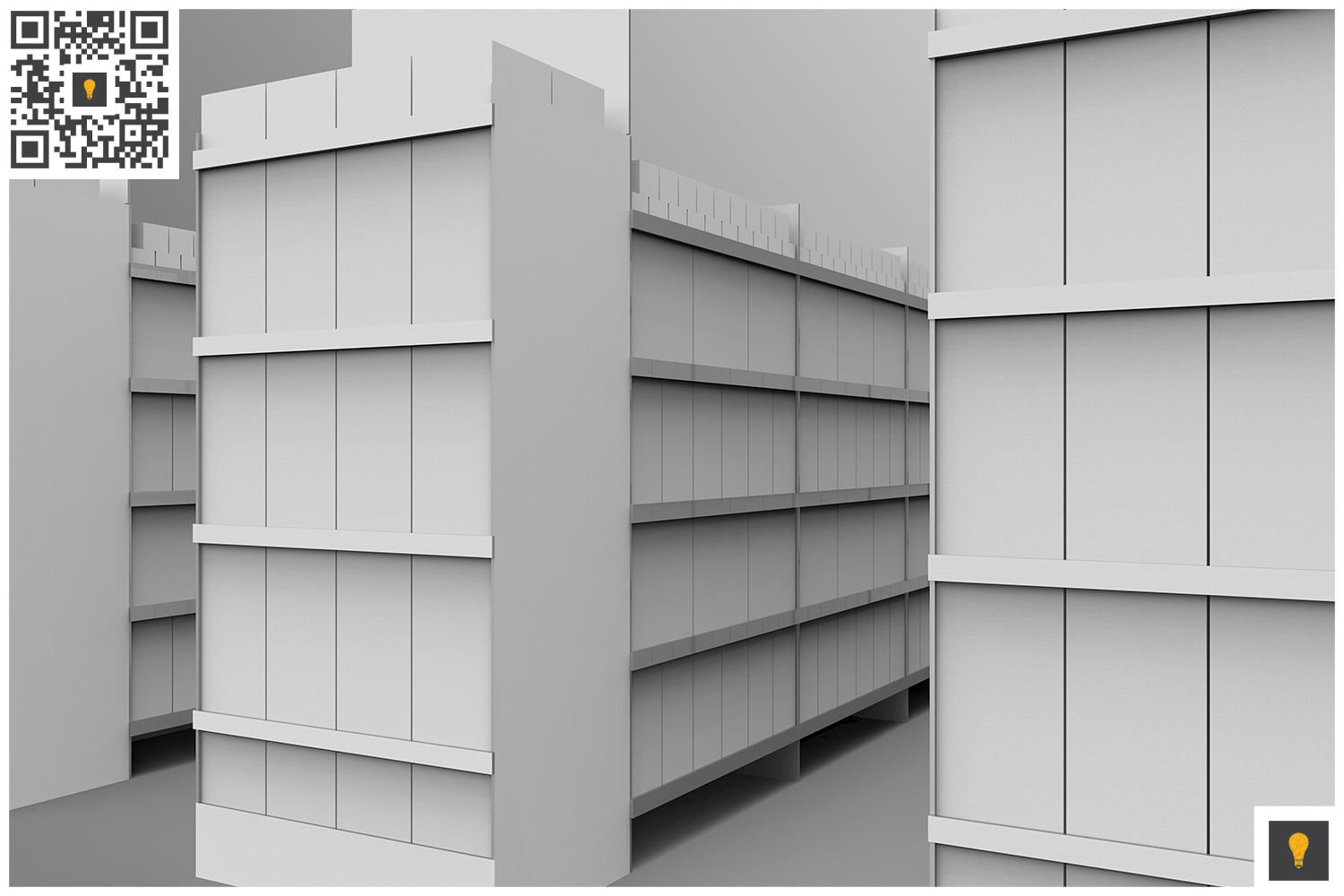 Aisle with Gondola Store 3D Render example image 10