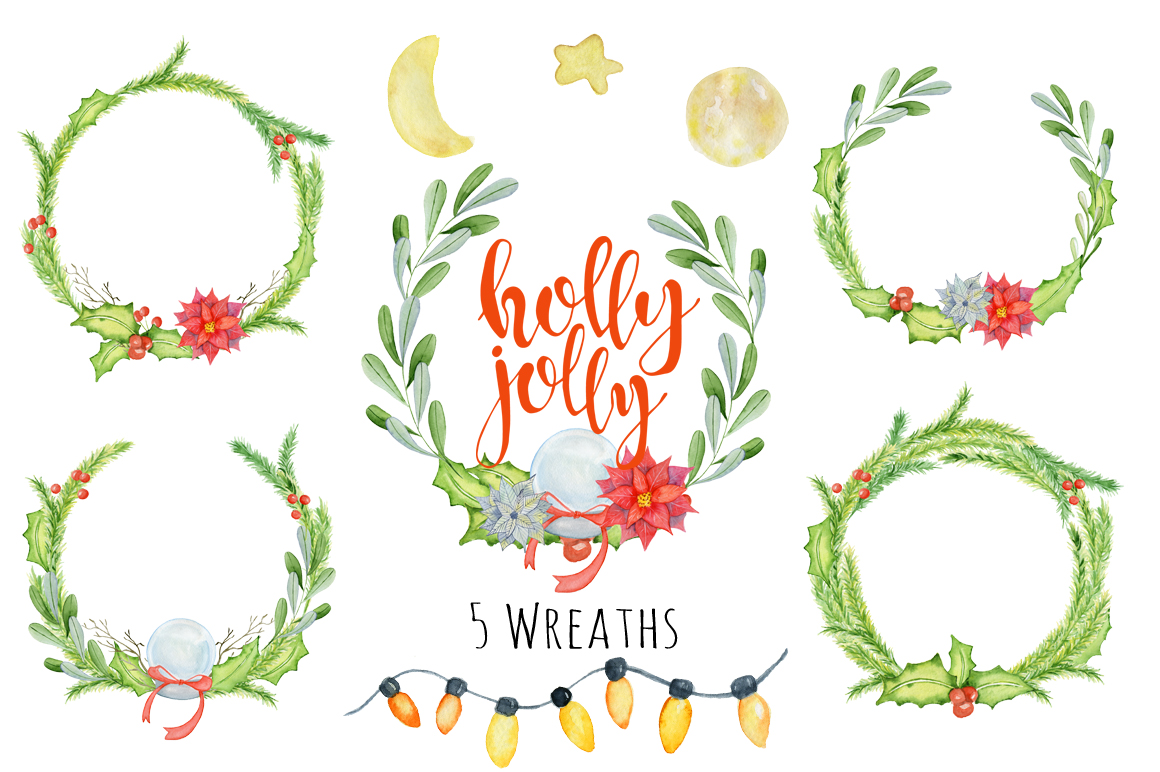 Christmas floral watercolor clipart Holly Jolly example image 3