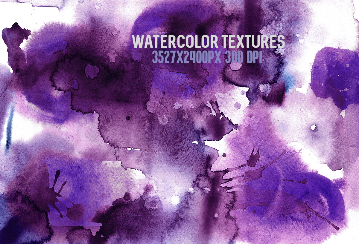 8 Purple watercolor textures, HQ 3527x2400px 300 DPI JPG example image 2