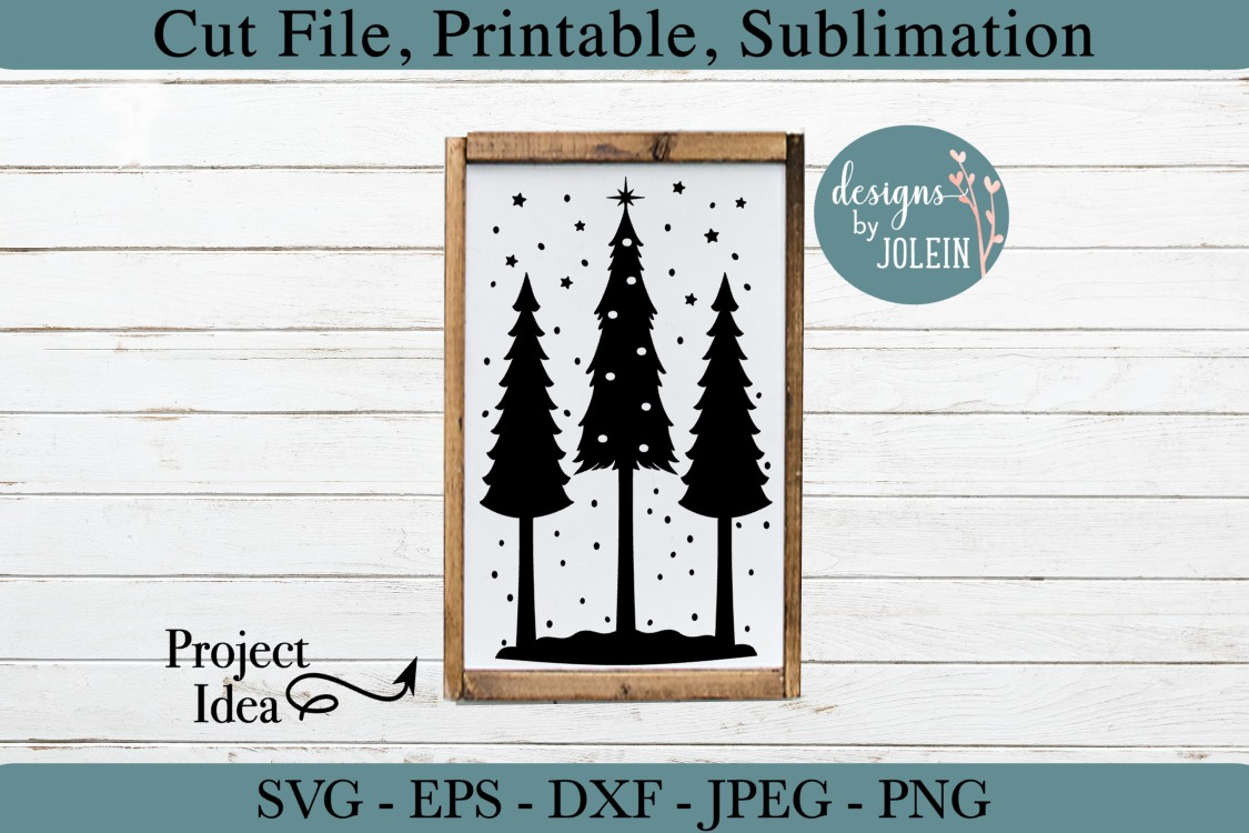Snowy Christmas Trees SVG, png, eps, DXF, sublimation example image 2