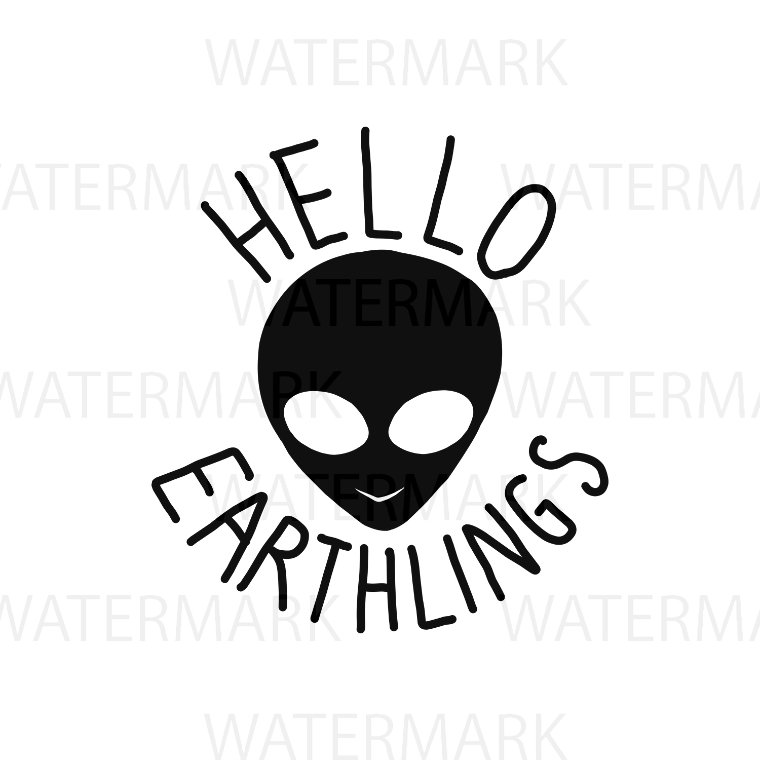 Alien Hello Earthlings - SVG/JPG/PNG Hand Drawing example image 1