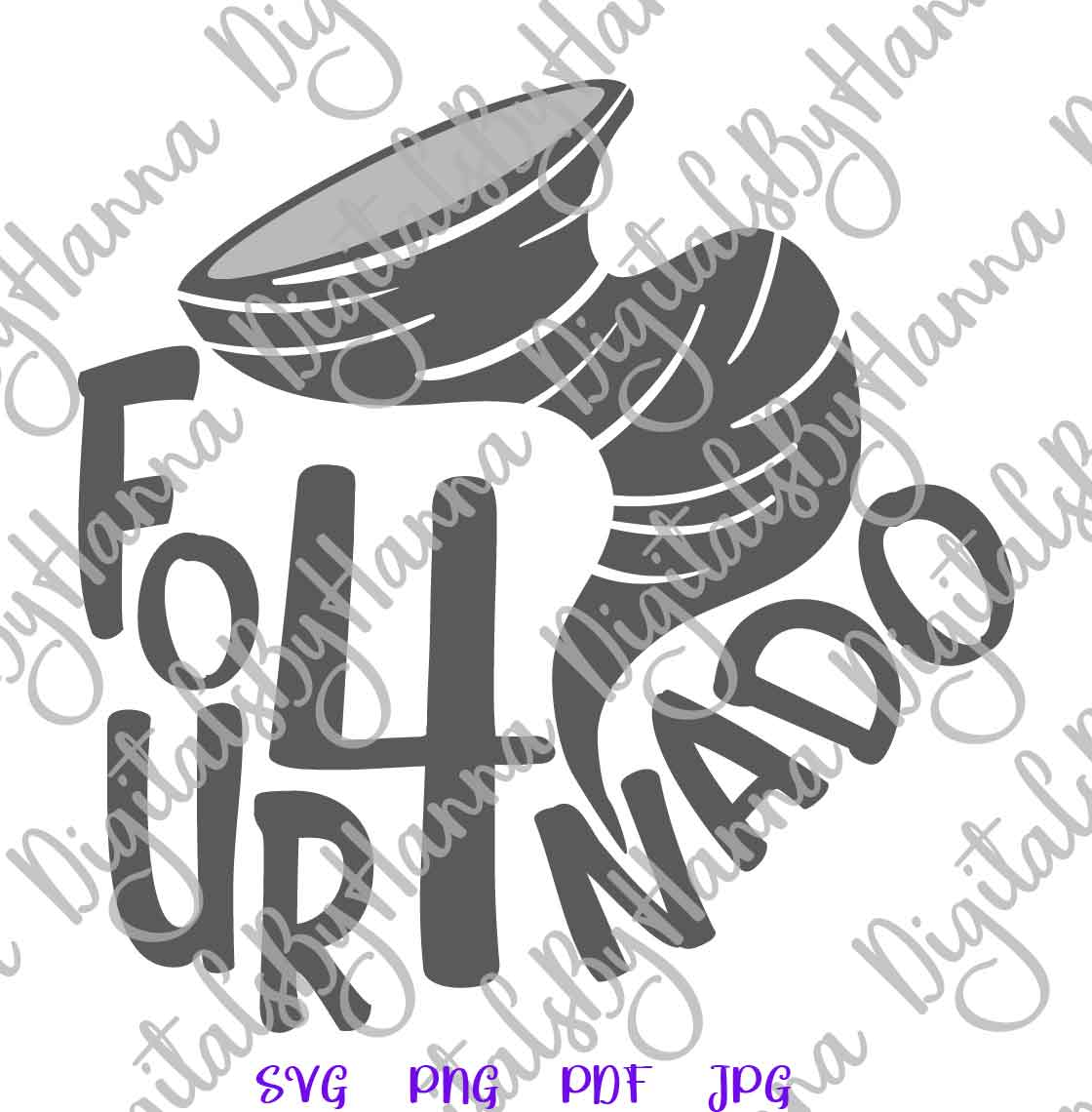 Fournado 4th Birthday Outfit Sign Print & Cut File PNG SVG example image 5