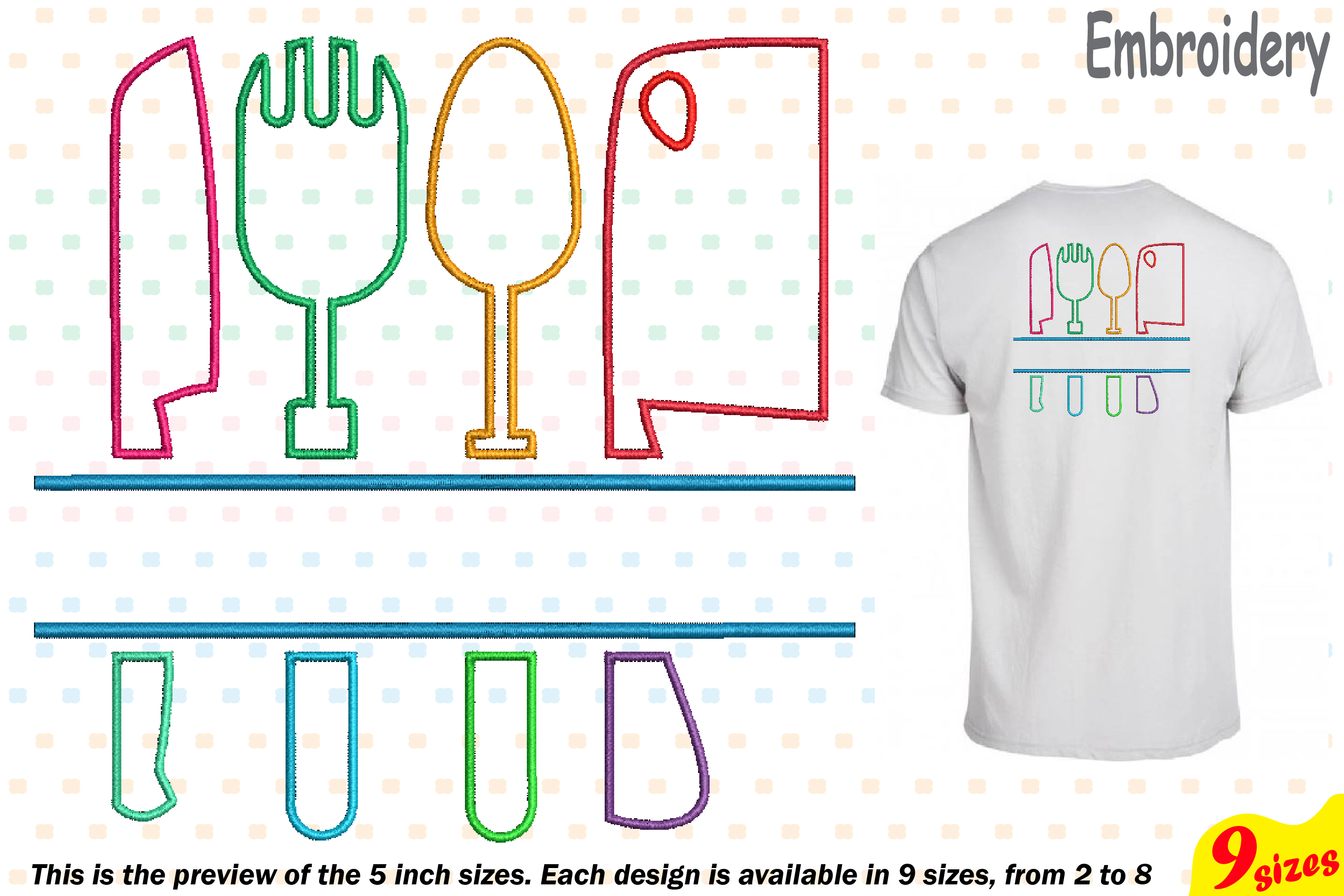 Split Kitchen Embroidery Design Machine Instant Download Commercial Use digital file icon symbol sign Cooking Chef Utensils knife 182b example image 1
