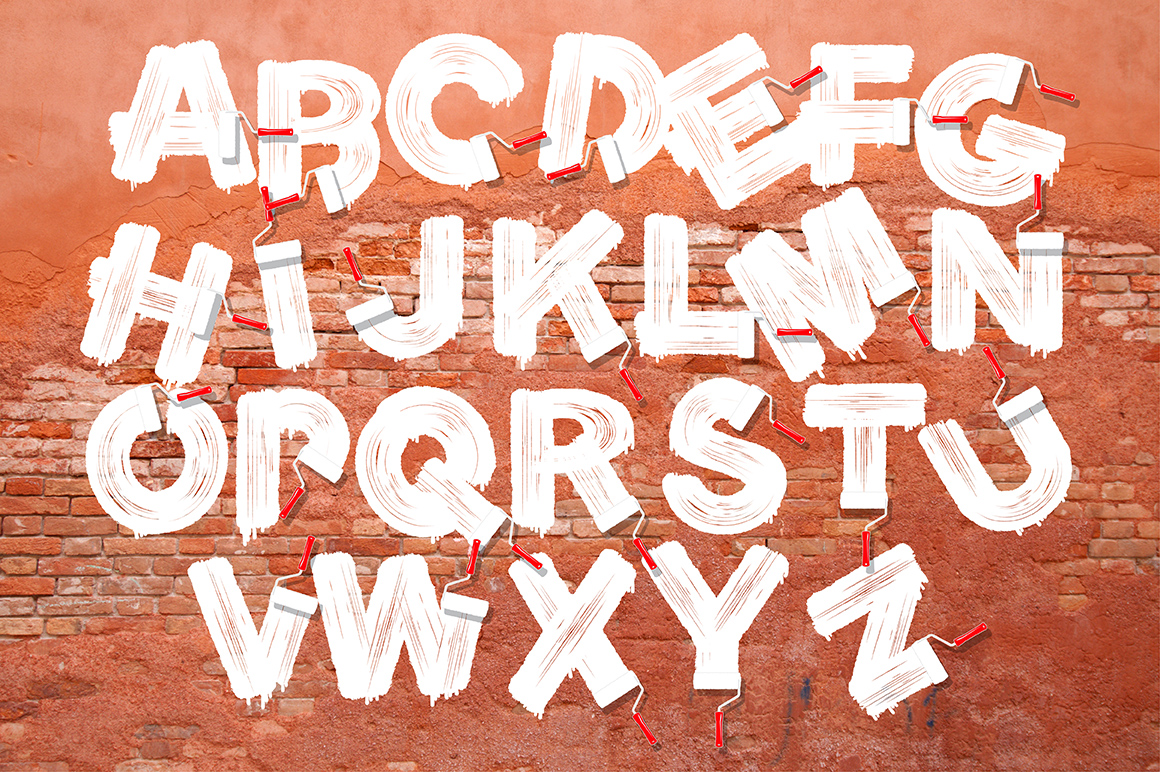 Roller brush letters example image 1