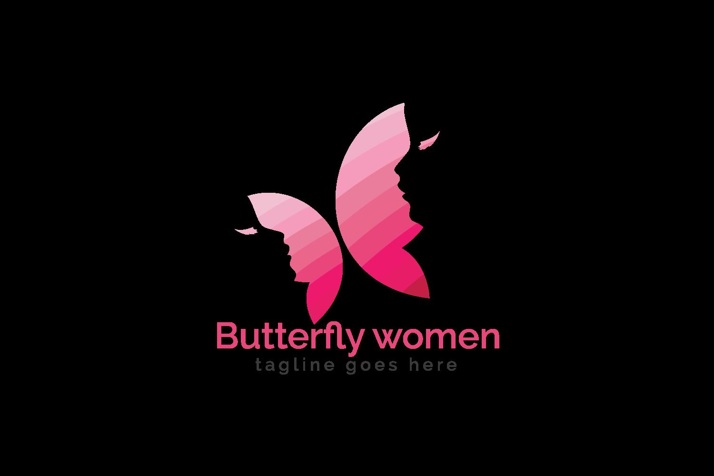 Butterfly women logo design.