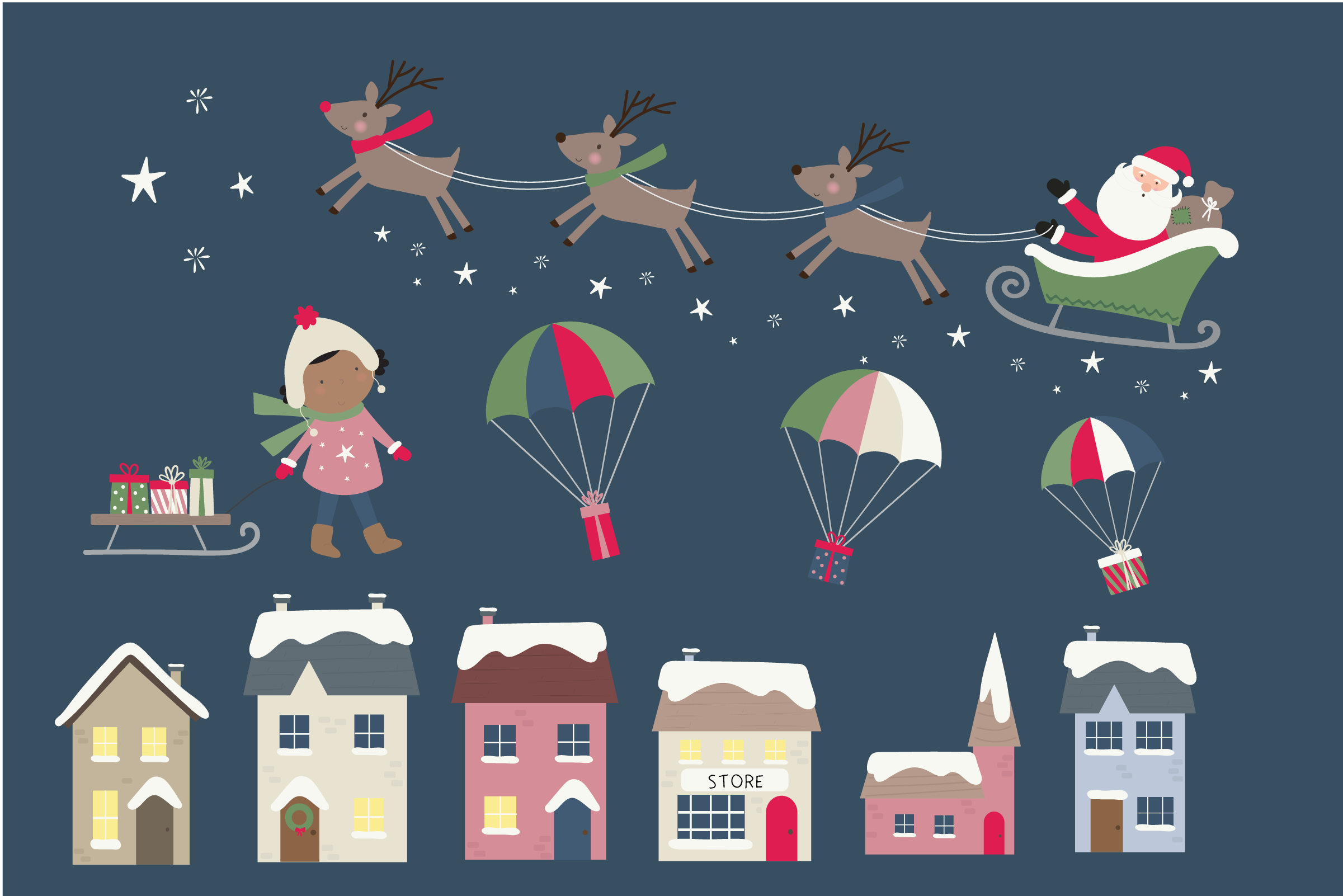 Holiday village clipart and paper example image 2