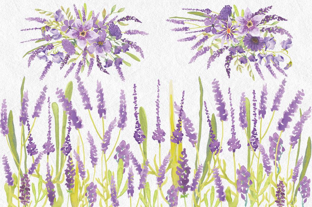 Watercolor clip art bundle in Lavender example image 3