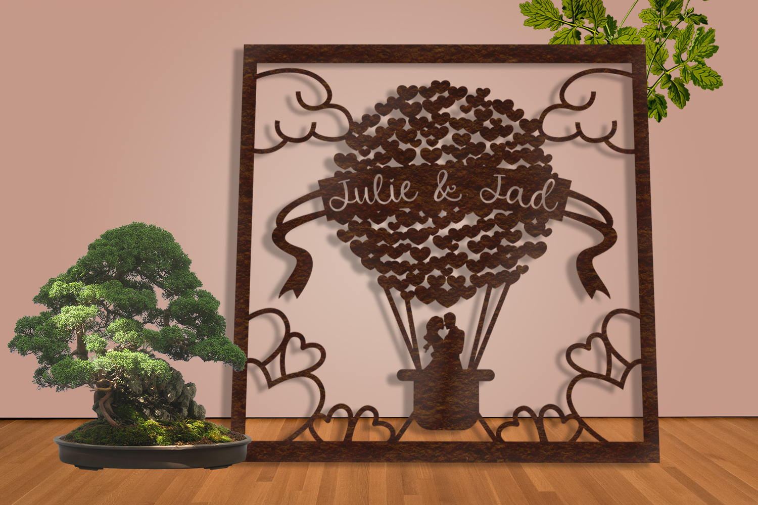 Frame Wedding Hearts Balloon Paper Cut SVG, AI, EPS example image 2