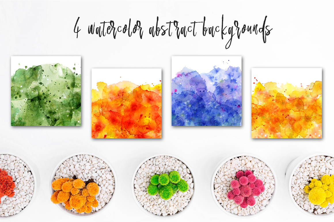 Boho Watercolor abstract Cactus Tropical clipart example image 13