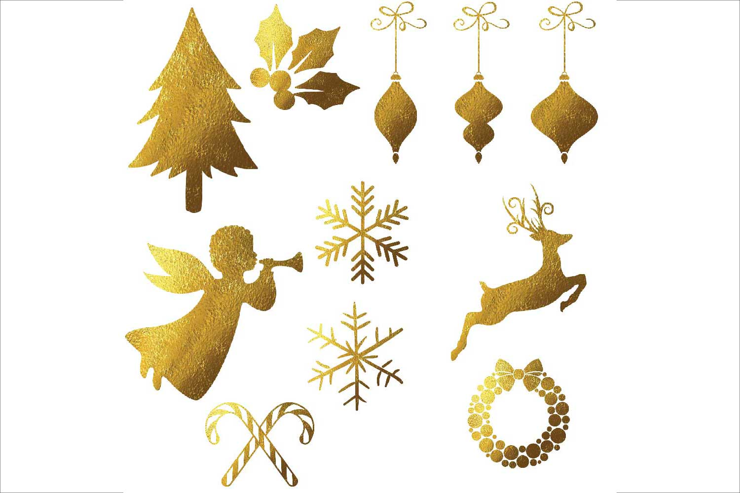 Gold Foil Christmas Clipart example image 3