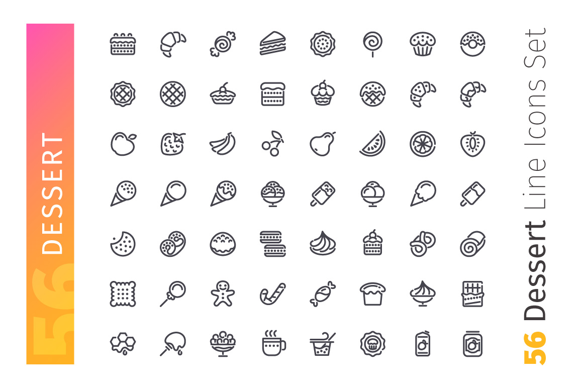 Dessert and Sweet Pastry Line Icons Set example image 2