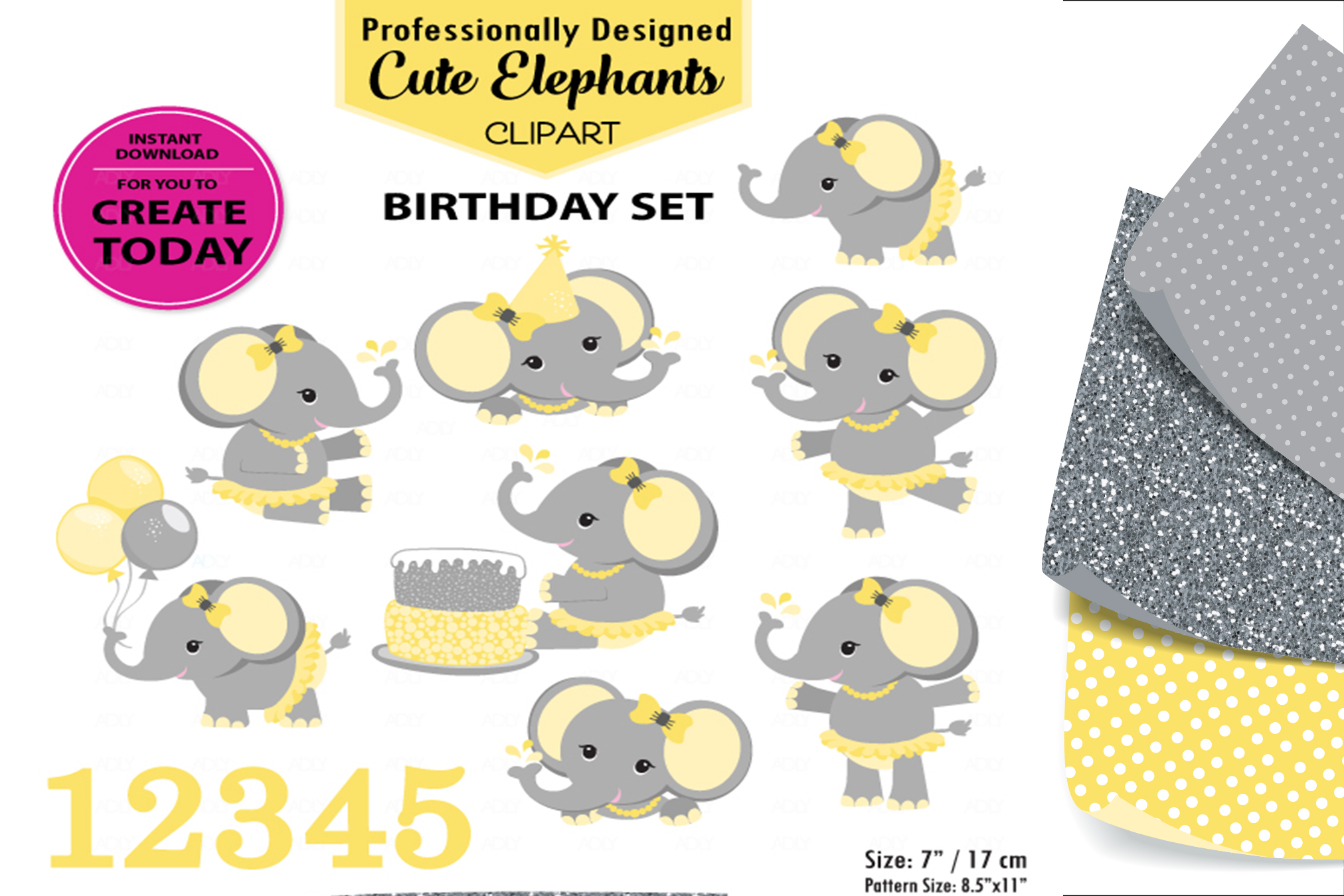 Yellow Adorable Flower Elephant with Cake and Balloon. example image 1