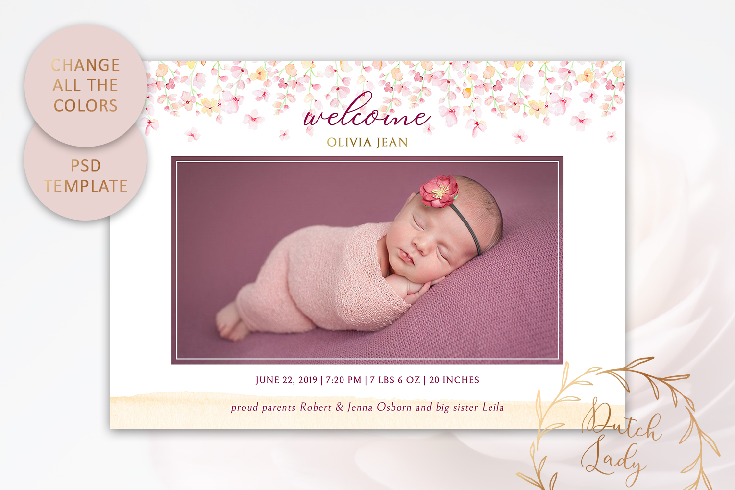 PSD Birth Announcement Card Template - Design #2 example image 3