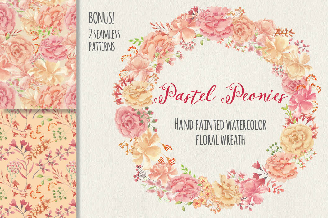Watercolor wreath of blush Peonies example image 1