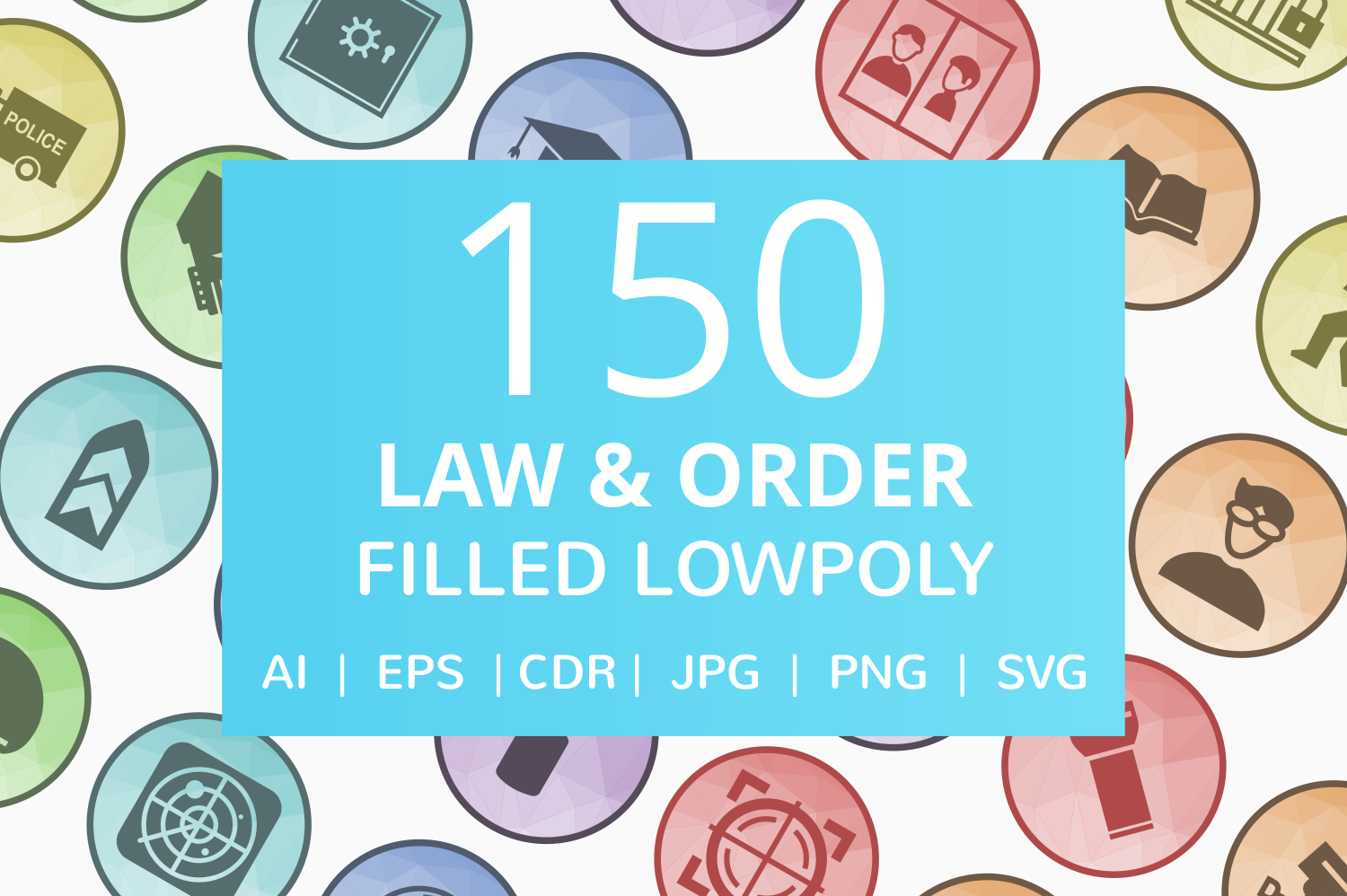 150 Law & Order Filled Low Poly Icons example image 1