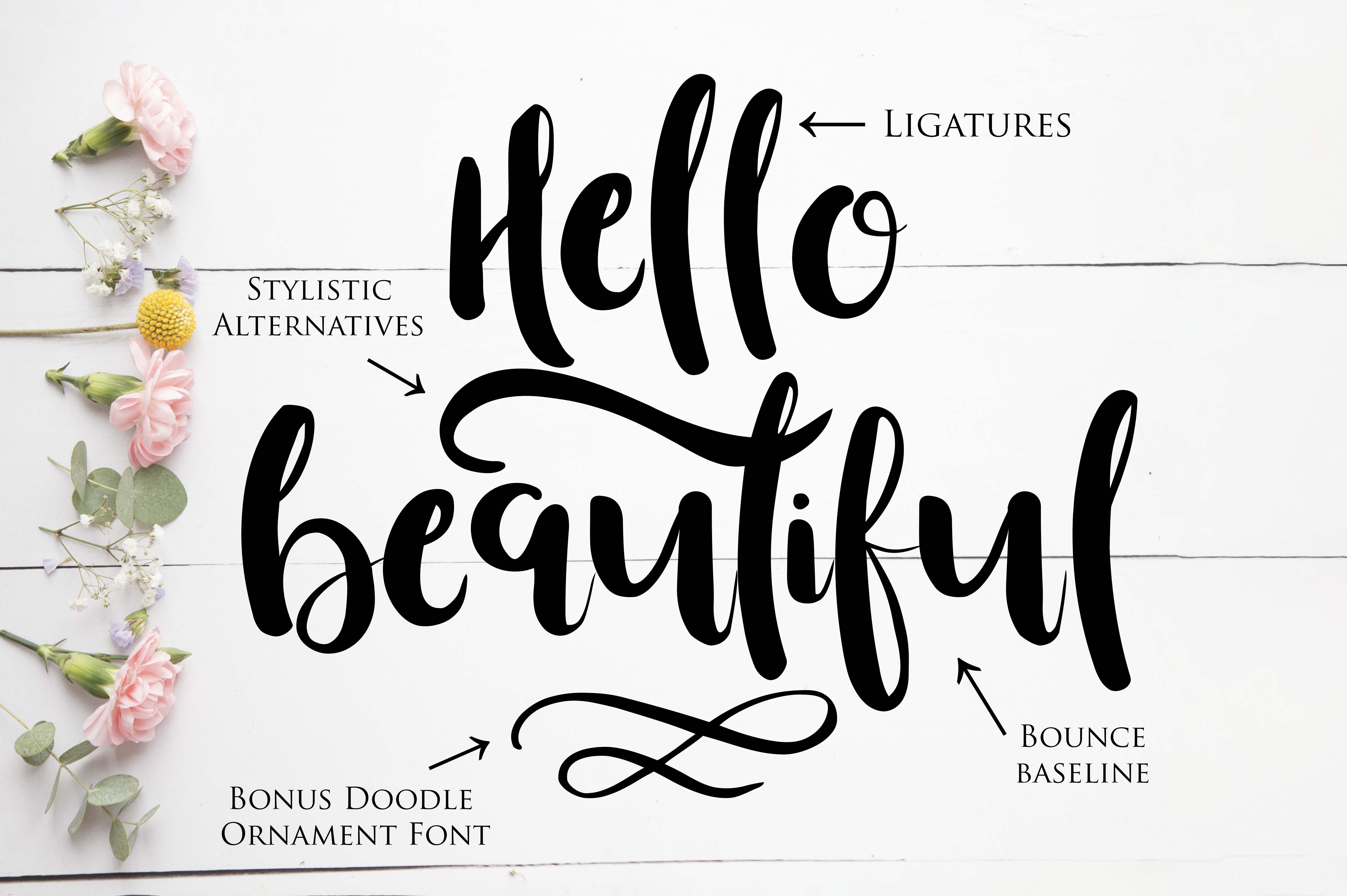 Beautiful Font with Bonus Ornament font example image 5