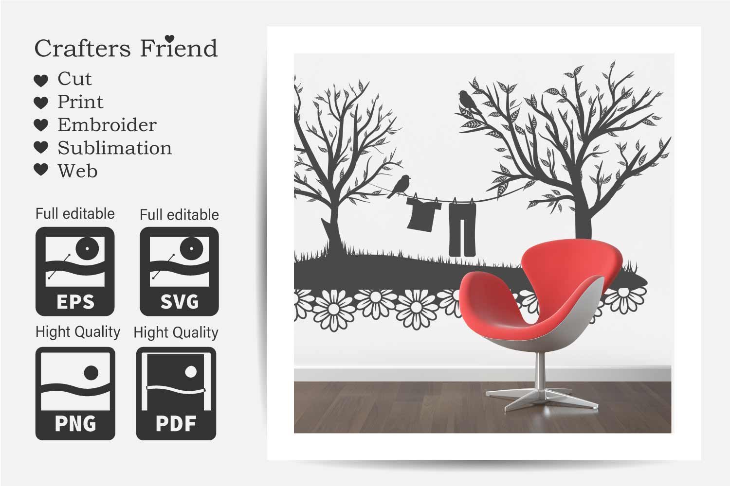 Trees and Clothes line - Cut File for Crafter example image 6