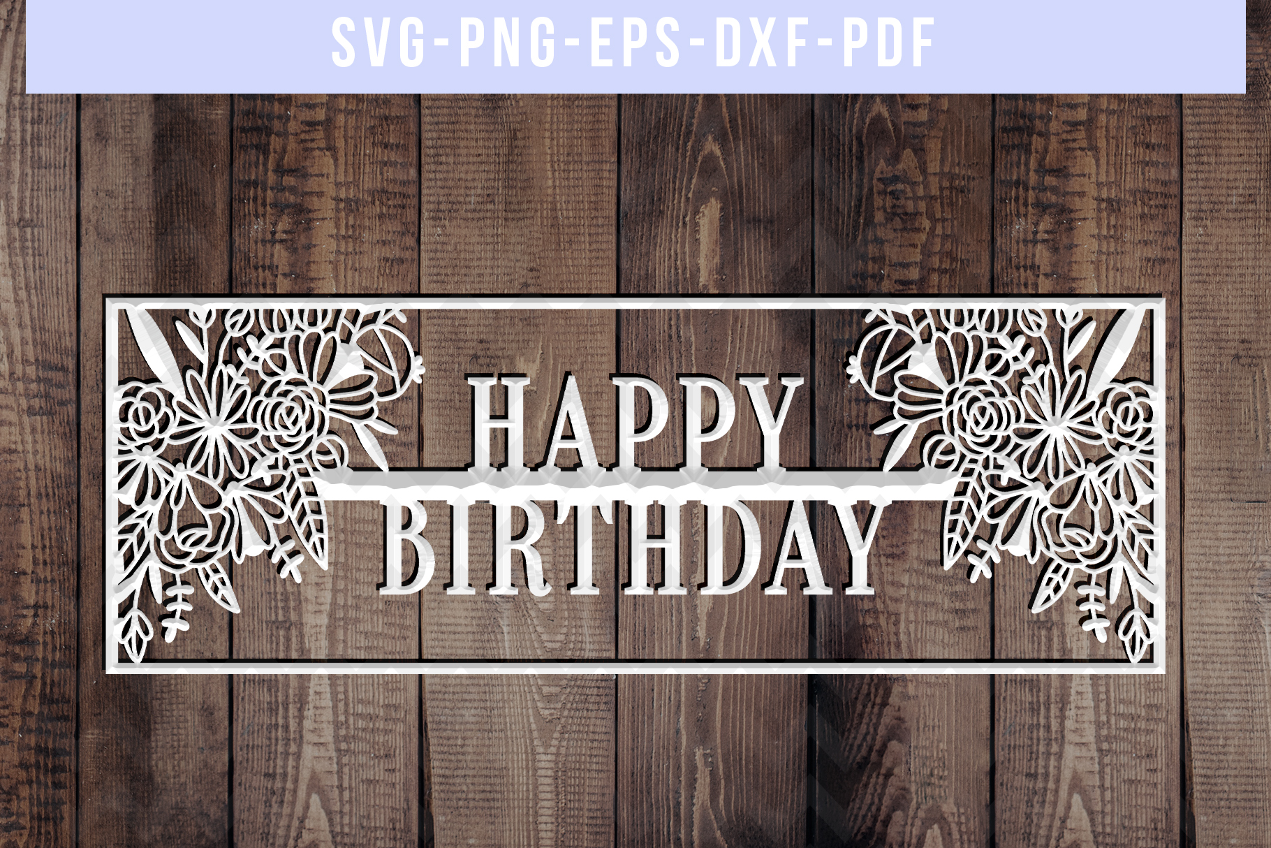 Happy Birthday Papercut Template, Birthday Frame SVG PDF DXF example image 3