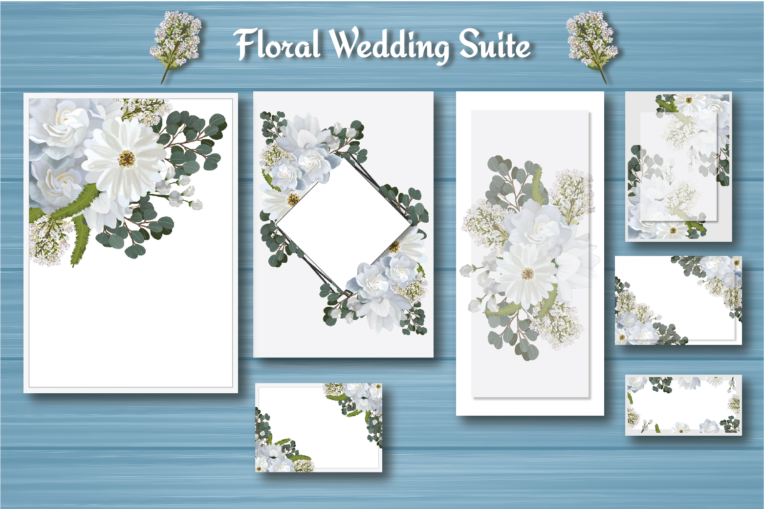 White Floral Wedding Invitation Suite example image 5