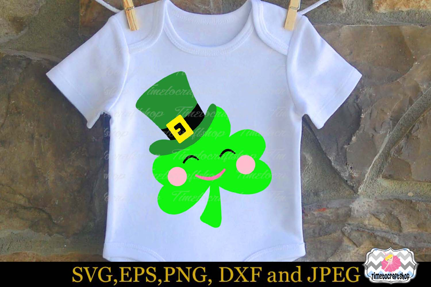 SVG, Dxf, Eps & Png St Patrick's Day Leprechaun hat Clover example image 1