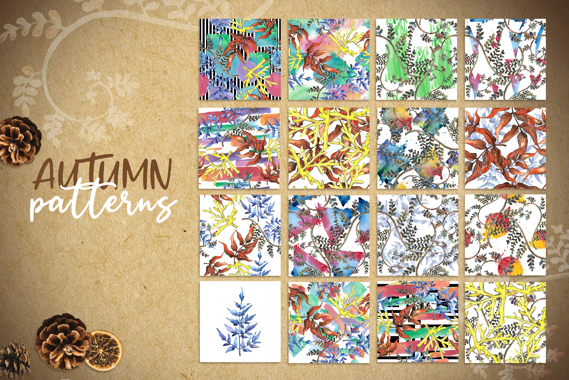 Watercolor autumn leaves png example image 2