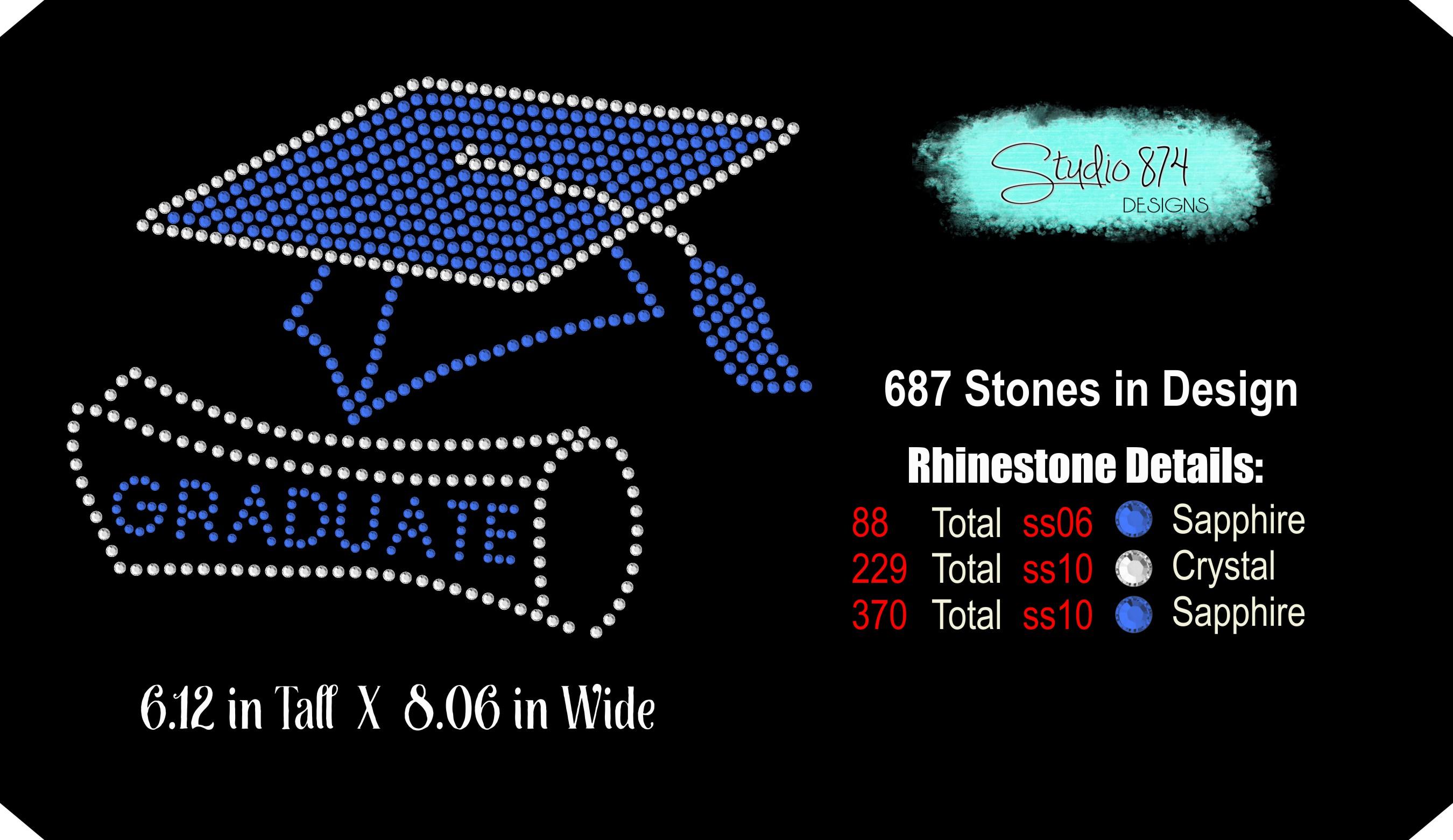 Graduate - Grad Cap Rhinestone SVG Template R1 example image 3