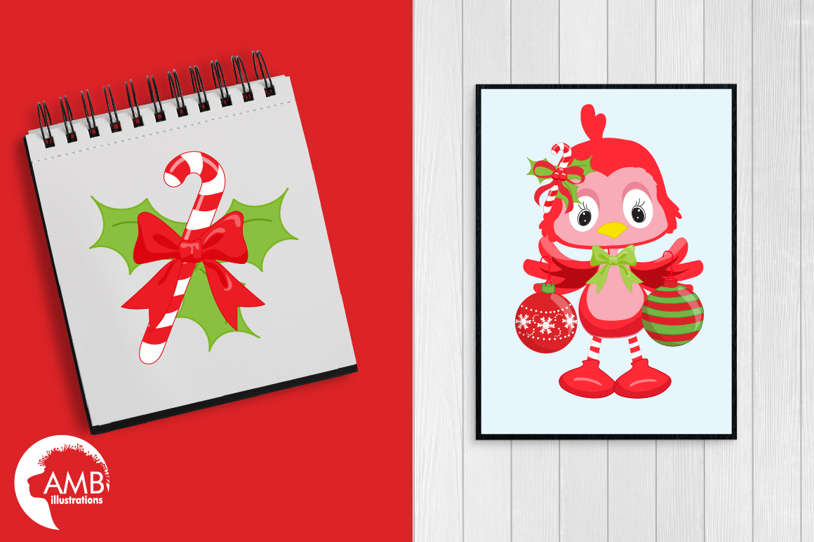 Christmas red birds clipart, graphics, illustrations AMB-193 example image 3