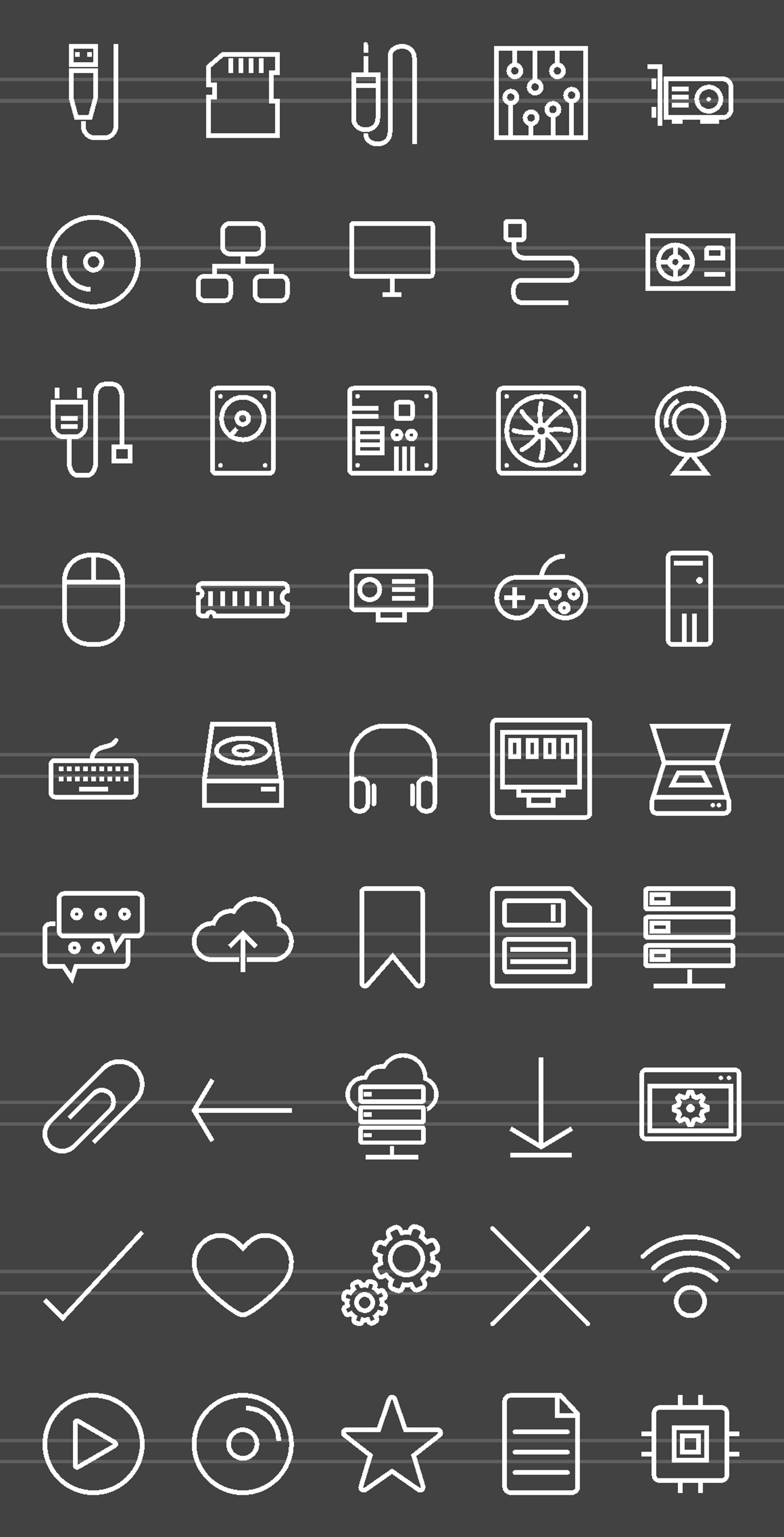 45 Computer Line Inverted Icons example image 2